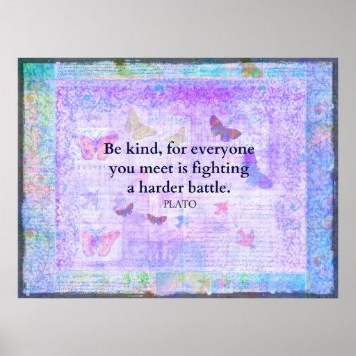 Inspirational Plato Compassion quote print