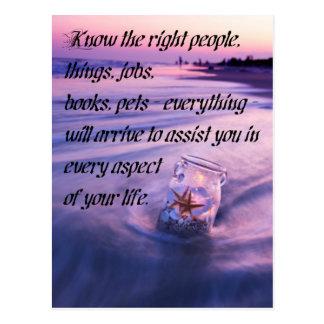 Inspirational positive beach theme quote postcard