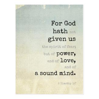 Inspirational Postcard (2 Tim 1:7) - Plantinski