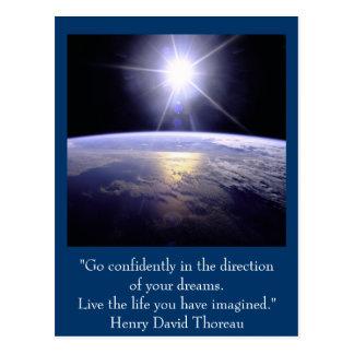 Inspirational postcard. Quote: Henry David Thoreau Postcard