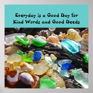 Inspirational poster Kind Words Good Deed Seaglass