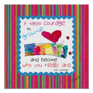 Inspirational poster with kid s art of a heart