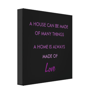 Inspirational Purple Black Typography Home Love Canvas Print