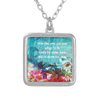 Inspirational quote among corals silver plated necklace