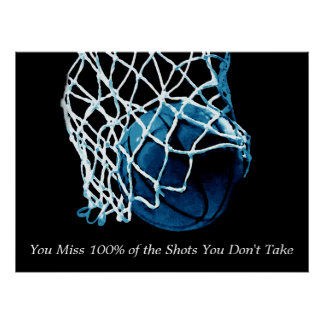 Inspirational Quote Basketball Blue Artwork Poster