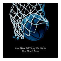 Inspirational Quote Basketball Blue Square Poster