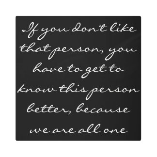 Inspirational Quote Black and White Typography Metal Print