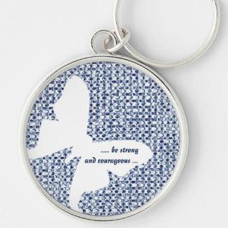 Inspirational Quote Blue Itajime Shibori Luna Moth Keychain