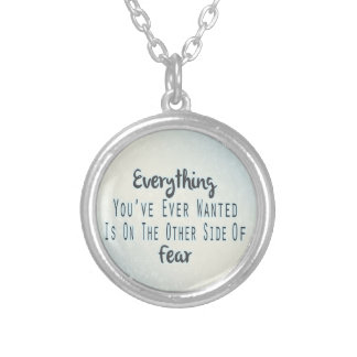 Inspirational Quote, Blue Typography About Desire Silver Plated Necklace