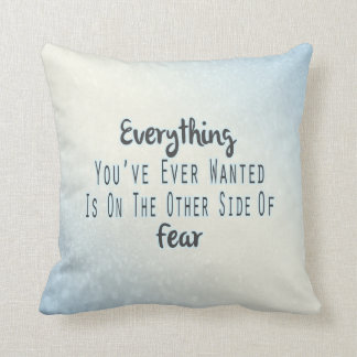 Inspirational Quote, Blue Typography About Desire Throw Pillow