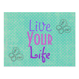 Inspirational Quote Butterflies and Polka dots Postcard