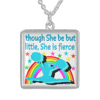 INSPIRATIONAL QUOTE CHEERLEADER DESIGN STERLING SILVER NECKLACE