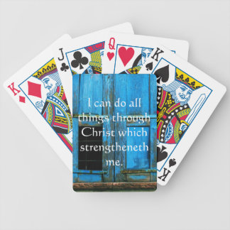 Inspirational Quote from  Bible - Philippians 4:13 Bicycle Playing Cards
