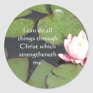 Inspirational Quote from  Bible - Philippians 4:13 Classic Round Sticker