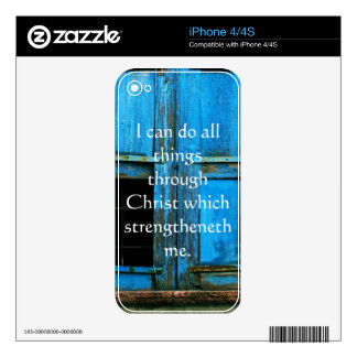 Inspirational Quote from  Bible - Philippians 4:13 Decal For iPhone 4