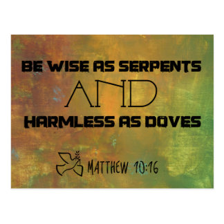 Inspirational Quote From Matthew 10:16 Postcard