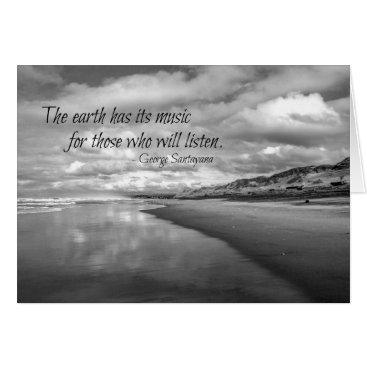 Beach Themed Inspirational quote greeting card - ocean b&w