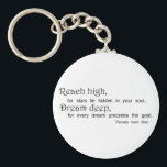 "Inspirational quote keychains motivation gifts<br><div class=""desc"">Inspirational quote keychains unique motivation gifts. Reach high,  for stars lie hidden in your soul. Dream deep,  for every dream precedes the goal. Pamela Vaull Starr.</div>"