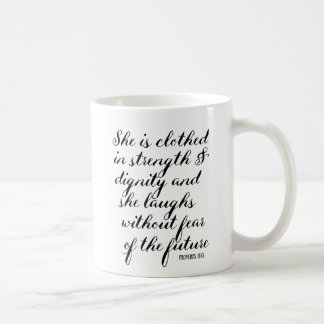 inspirational quote mug she is clothed in strength