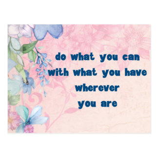 Inspirational Quote on a Floral Background Postcard