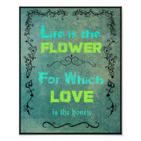 Inspirational Quote on Love and Life   Poster