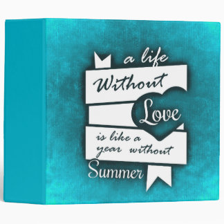 Inspirational Quote on Love on Turquoise Binders