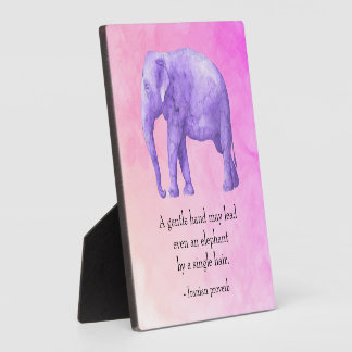 Inspirational Quote Purple Watercolor Elephant Plaque