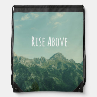 Inspirational Quote: Rise Above Drawstring Bag