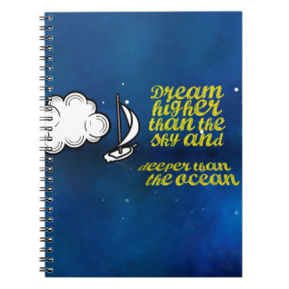 Inspirational Quote, Sailboat and Night sky Spiral Note Book