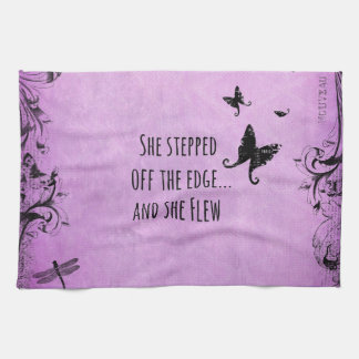 Inspirational Quote: She Stepped off the Edge and Hand Towels