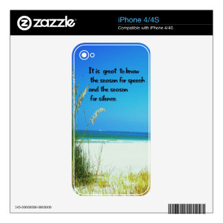 Inspirational Quote The sounds of Silence Skin For The iPhone 4S