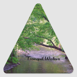 Inspirational quote Tranquil Waters Triangle Sticker