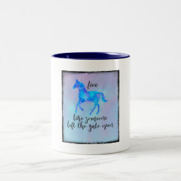 Inspirational Quote with a Horse Running Free Two-Tone Coffee Mug
