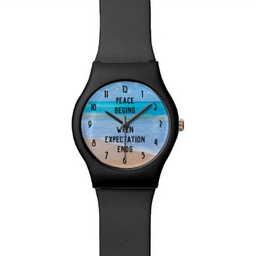 Inspirational Quote with Tropical Beach Scene Wrist Watch