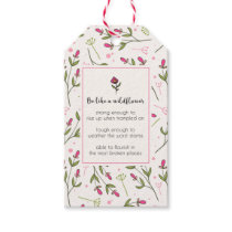 Inspirational Quote With Wildflower Pattern Gift Tags