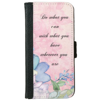 Inspirational Quote with Wildflowers Typography iPhone 6/6s Wallet Case
