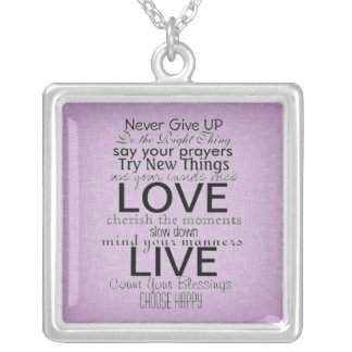 Inspirational Quotes and Sayings Square Pendant Necklace