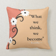 Inspirational Quotes Buddha:Thoughts Floral Art Throw Pillow