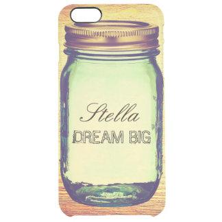 Inspirational Quotes Dream Big on Retro Mason Jar Clear iPhone 6 Plus Case