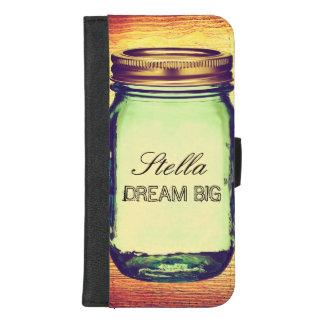 Inspirational Quotes Dream Big on Retro Mason Jar iPhone 8/7 Plus Wallet Case