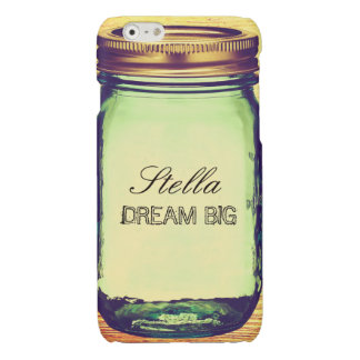 Inspirational Quotes Dream Big on Retro Mason Jar Glossy iPhone 6 Case