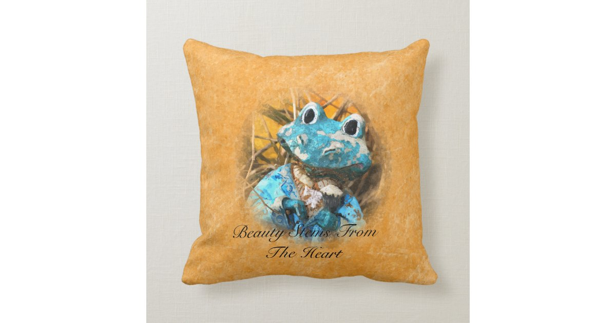 Inspirational Quotes You Are Beautiful Frog Prince Throw Pillow Zazzle.com