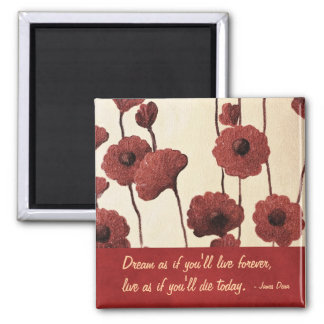 Inspirational Red Flowers 2 Inch Square Magnet