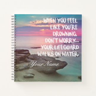 Inspirational Religious Quote over Ocean Sunset Notebook