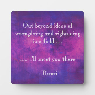 Inspirational Rumi Quote on a Purple Background Plaque