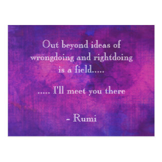 Inspirational Rumi Quote on Purple Abstract Postcard