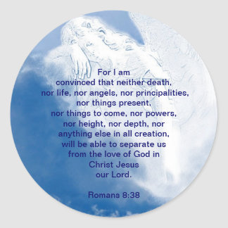 Inspirational Scripture Angel In Clouds, Romans Classic Round Sticker
