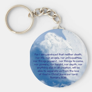 Inspirational Scripture Angel In Clouds, Romans Keychain