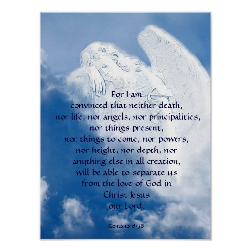 Inspirational Scripture Angel In Clouds, Romans Posters