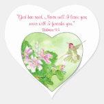 Inspirational Scripture Hebrews 13:5, Hummingbird Heart Sticker